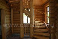 Лестница из бревна поворот на 180 градусов
